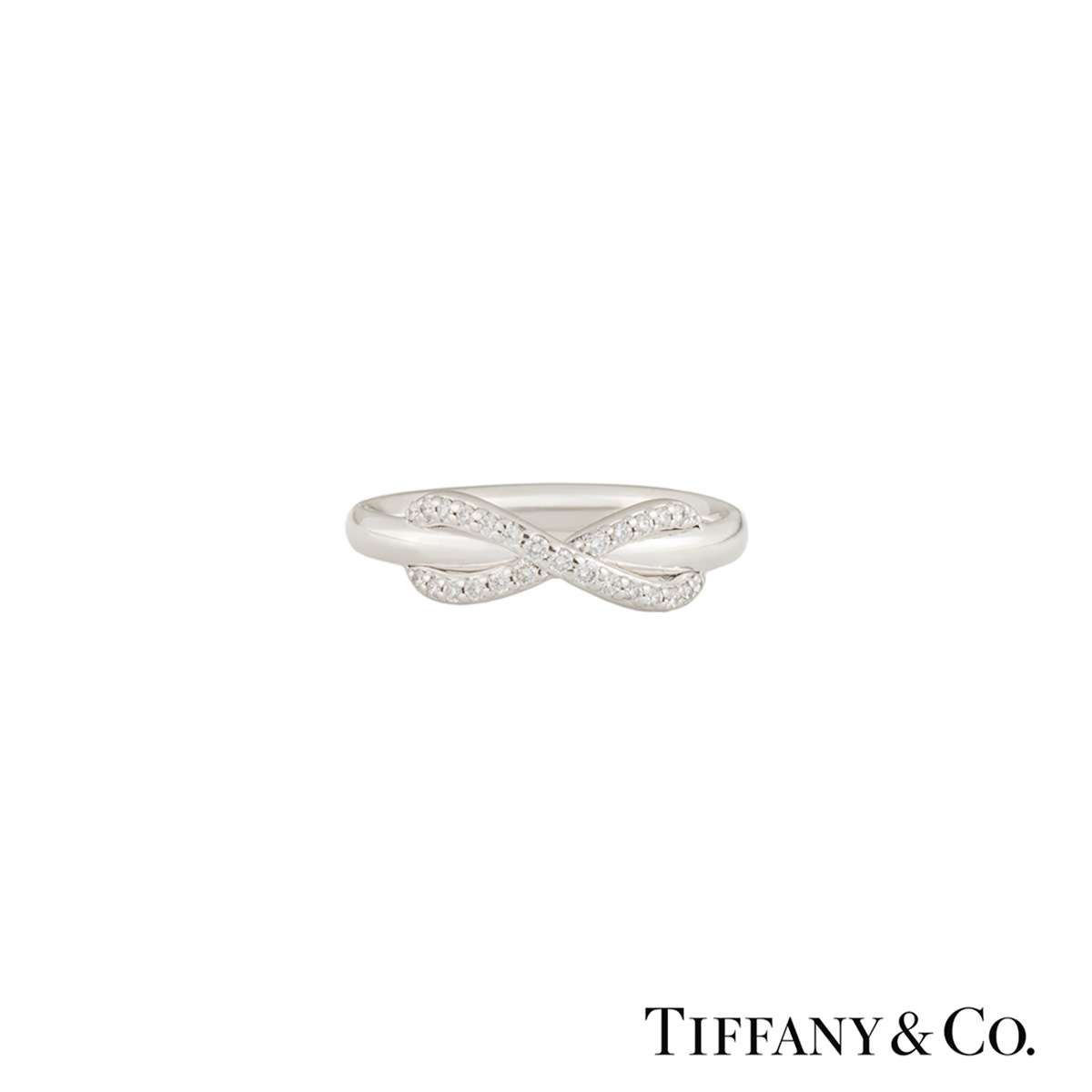 Tiffany & Co. White Gold Diamond Infinity Ring 0.13ct F/VS